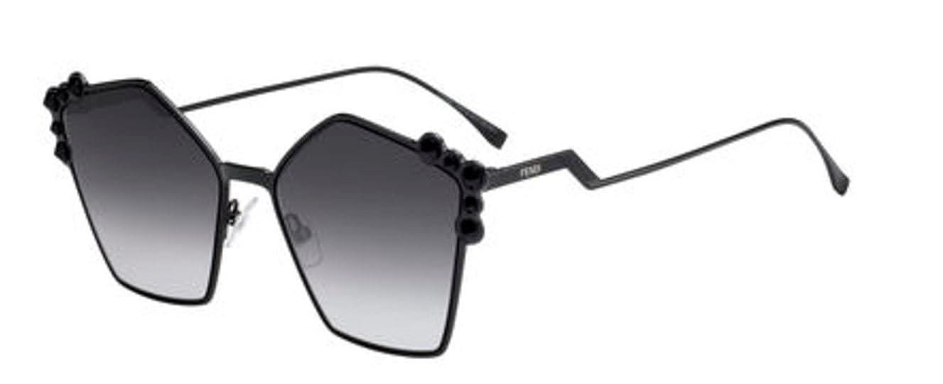 163ba6c2a3788 Amazon.com  New Fendi Ff 0261 S 205 90 Black Dark Grey Sunglasses  Clothing