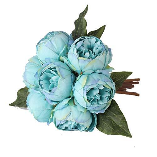 (Louiesya Artificial Fake Flowers Peony Plants Silk Flower Arrangements Wedding Bouquets Decorations Plastic Floral Table Centerpieces Home Kitchen Garden Party Décor (Lake Blue))