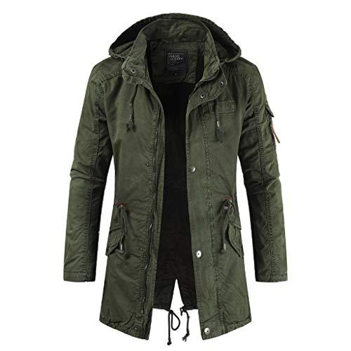WUAI-Men Casual Lightweight Hooded Cotton Military Jackets Outdoor Windbreaker Jackets(Green,X-Large)