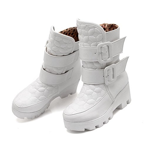 Allhqfashion Mujeres Round Closed Toe Kitten-heels Material Suave Low-top Solid Botas Blanco