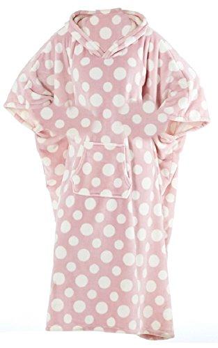 Octave® lunghe, da donna, con cappuccio, colore: corallo/poncho caffettano notte signora, lungo, a pois rosa
