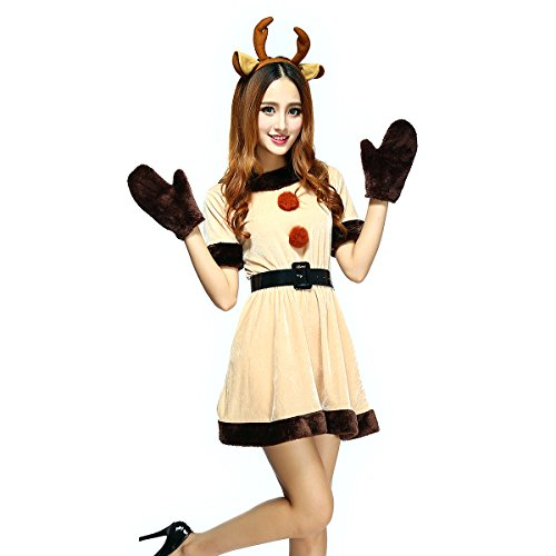 Veroman Women's Christmas Reindeer's Costume (Color-a) (Sexy Grinch)