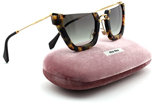 Miu Miu MU 12QS Rasoir Wink Women Irregular Sunglasses (Sand Yellow Havana Frame, Grey Gradient Lens - Sale Miu For Miu
