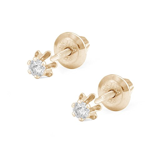 Girl's Jewelry - 14K Yellow Gold 0.08 CTW Diamond Screw Back Earring Studs by Loveivy