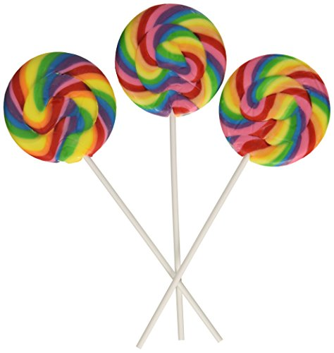 Fun Express Swirl Lollipops, Large, 2 3/4-Inch Suckers, 6-Inch Plastic Stick, Cherry, Pack of 12