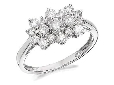 30dd03693 F.Hinds Womens Ladies Jewellery 9ct White Gold 1 Carat Diamond Cluster Ring:  Amazon.co.uk: Jewellery