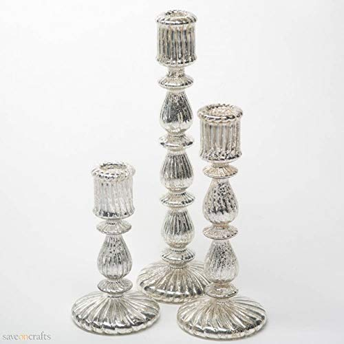 Ribbed Unique Mercury Glass Taper Candle Holder Set of 3 - Excellent Home Decor - Indoor & Outdoor