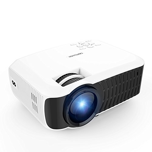 DBPOWER T22 HD Video Projector 2400 Lumens Support 1080P with Free HDMI AV Cable for Multimedia Home Cinema Theater-White