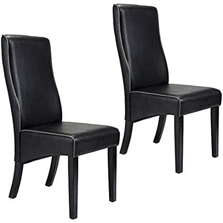 Giantex Set Of 2 Dining Chairs PU Leather High Back Armless Home Furniture Black