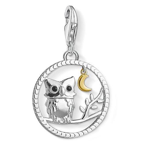 THOMAS SABO Femme Charme Night Owl Argent Sterling 925 Or Jaune 750er Dor/é Noir /émaill/é 1392-427-11