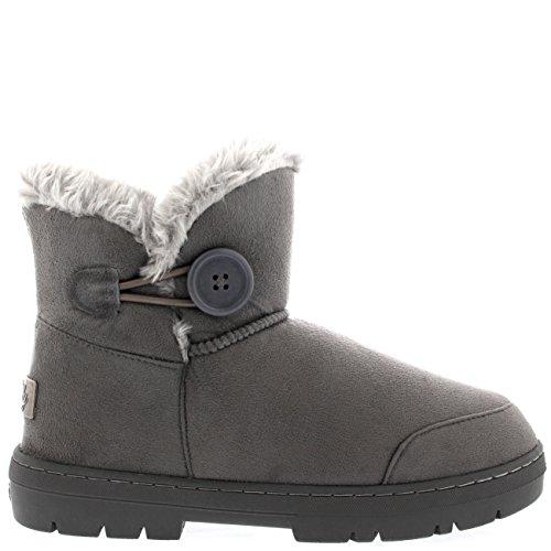 Holly Womens Button Mini Warm Shoes Winter Flat Snow Rain Boots Grey fIi7fDKTdw