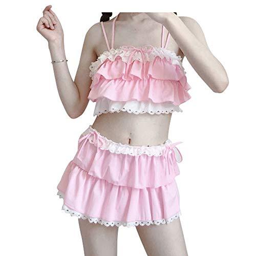 74cf9ef593 Nuoqi Japan Sweet Girls Pink Soft Flounced Bikini Sexy Swimwear Set Spa  Swimsuit