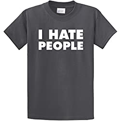 Comical Shirt Men's I Hate People Funny Antisocial Shirt Charcoal XL