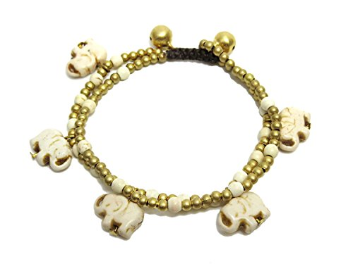 Elephant White Howlite Stone Brass Beaded Charm Bracelet for (Brass Elephant Charm)
