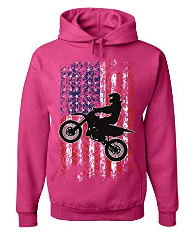 Rider Pink Sweatshirt - Dirt Bike American Flag Hoodie Extreme Enduro Motocross Rider Sweatshirt Hot Pink S