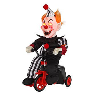 Totally Ghoul Animated Scary Clown on Tricycle
