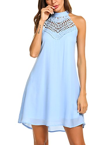 Sweetnight Womens Halter Neck Chiffon Tunic Tank Dress T Shirt Dresses (Blue, XXL)