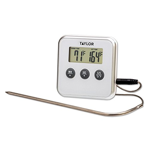 Taylor Programmable Digital Cooking Thermometer Plus Timer (White)