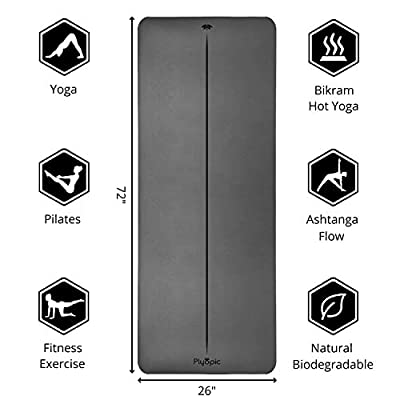 Plyopic Ultra-Grip Yoga Mat | Eco-Friendly, Non Slip Mat with Body Alignment. Best for Yoga, Pilates, Exercise, Workout, Bikram and Hot Yoga