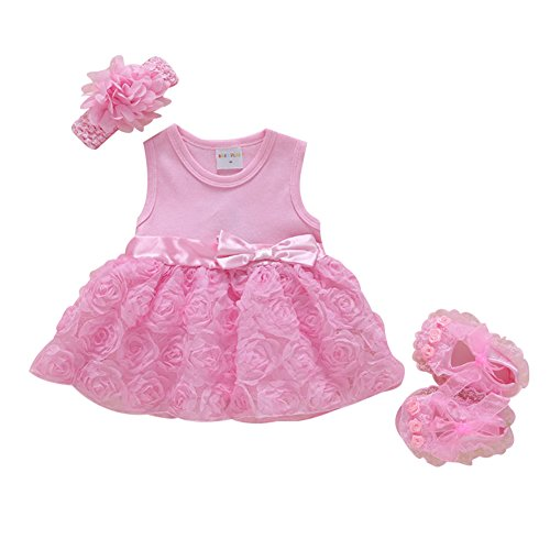 - TAIYCYXGAN Baby Newborn Girls Princess Dress Christening Baptism Gowns Flower Girl Party Dress +Headband+Shoes Pink 3M