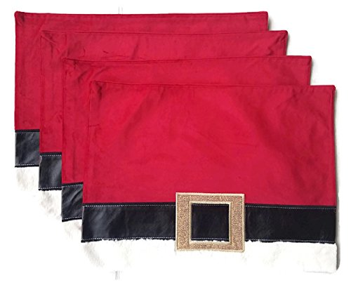 - Christmas Placemats Santa Belt- Set of 4