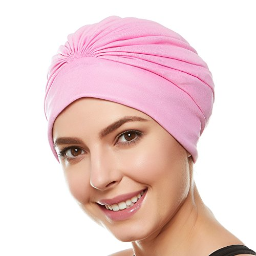 Pink Long Shorts - Hold'Em Beemo Women's Swim Bathing Cap Turban – Polyester Latex Lined Pleated for Women & Girls Long/Short Hair - Light Pink