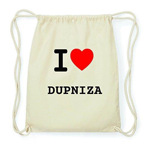 JOllify DUPNIZA Hipster Turnbeutel Tasche Rucksack aus Baumwolle - Farbe: natur Design: I love- Ich liebe 62nGxzb
