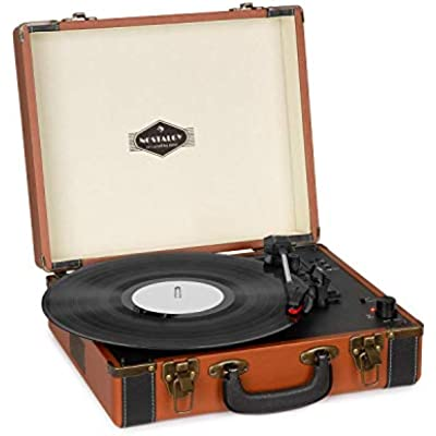 AUNA Jerry Lee Turntable  Retro Record Player  Belt Drive  Stereo Speakers  Bluetooth Function  Recording Playback Functions  USB  AUX In  33 45 78 RPM  Record Sizes  Light Brown