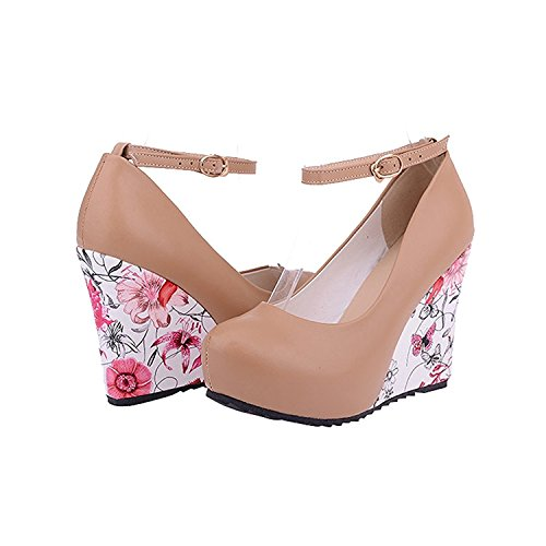 rritoce Women's Elegant Closed Toe Wedge Platform Pumps Sexy Ankle Strap Floral Parint High Heel Shoes Apricot11 B(M) US Cute
