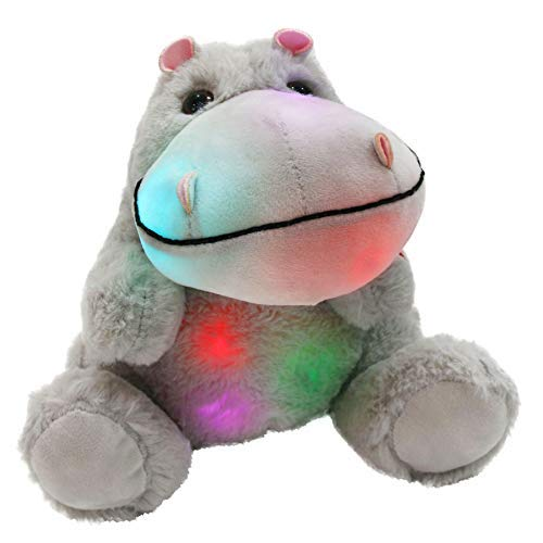 WEWILL Glow Hippo LED Stuffed Animal Plush Soft Toys, Gift for Kids on Christmas, Halloween, 10 inch, Gray