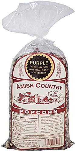 Amish Country Popcorn - Purple Popcorn (1 Pound Bag) With Recipe Guide - Old Fashioned, Non GMO, and Gluten Free