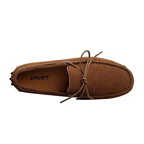 Rocky Sun Men's Casual Dress Fashion Suede Flats Driving Boat Moccasin Loafer Shoes 9.5 US Brown