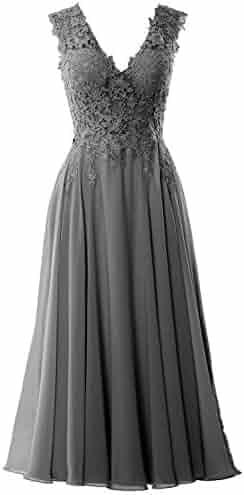 29bdf52a31 MACloth Women V Neck Midi Wedding Party Gown Tea Length Lace Mother Bride  Dress