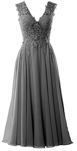 MACloth Women V Neck Midi Wedding Party Formal Gown Tea Length Lace Prom Dress (US10, Gray)