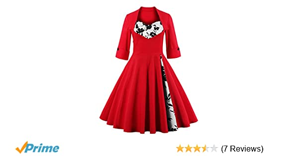 KILOLONE Women 50s Plus Size Christmas Party Retro Vintage Rockabilly Classic A-Line Pinup Cocktail Swing Dresses at Amazon Womens Clothing store: