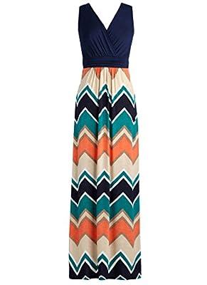 Zattcas Womens Contrast Sleeveless Empire Chevron Striped Maxi Long Dress