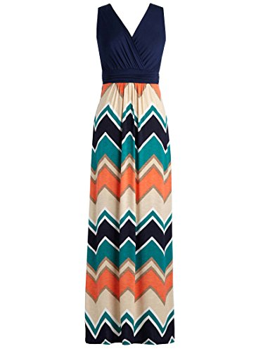 Zattcas-Womens-Contrast-Sleeveless-Empire-Chevron-Striped-Maxi-Long-Dress