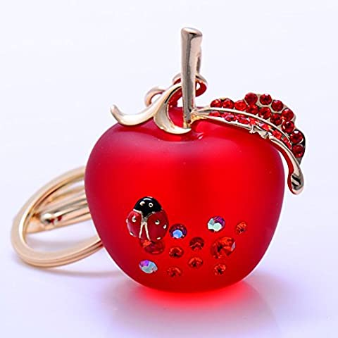 Bling Crystal 3D Apple Shaped Keychain For Car Phone Purse Bag Decoration, Natural Rose Crystal Carved Apple Hanging Ornament With Alloy Leaf for Christmas Gifts - Apple Shaped Key