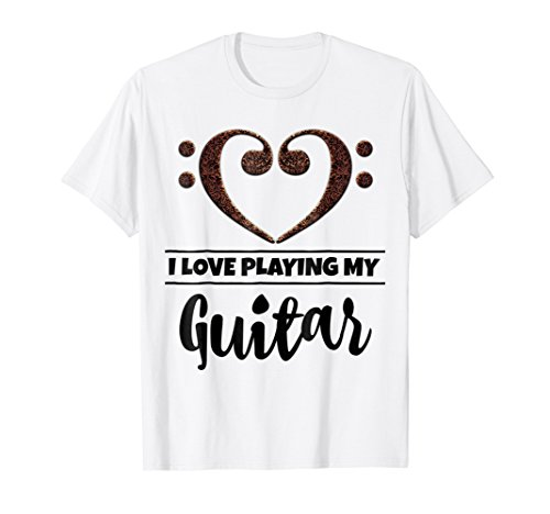 Double Bass Clef Heart I Love Playing My Guitar T-Shirt