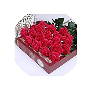 11 Heads Real Touch Latex Flowers Artificial Rose Flowers Bouquet for Wedding Decoration Party Home Decor,Rose red 111