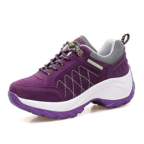 Women's Platform Athletic Hiking Shoes Lace Up Outdoors Trainers Nonslip Comfort Trekking Shoes Purple