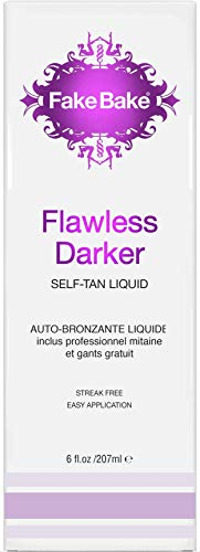 Fake Bake Flawless Darker Self-Tanning Liquid | Fast-Drying, Dark Sunless Tan | Black Coconut Scent | Streak-Free, Easy Application with Professional Mitt Included | 6 - Self Formula Face Tanning