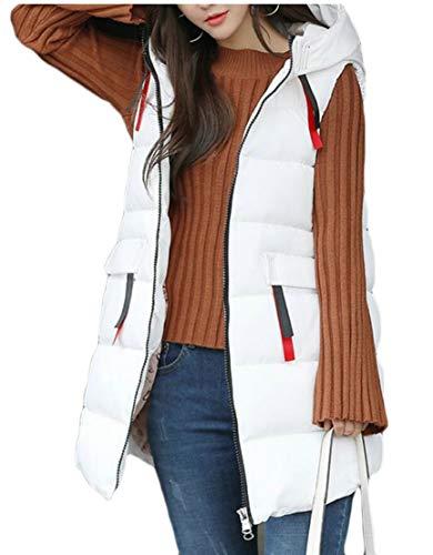 White Sleeveless Puffer Women's Jacket Vest Hooded Coat EKU Down O7wSwq
