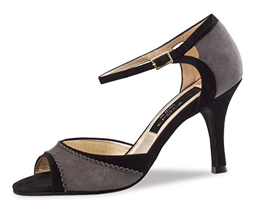 Nueva Epoca-Tango/Salsa Femme Chaussures de Danse Alessia-Gris/Noir-7cm