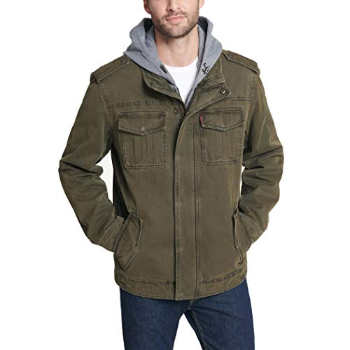 Washed Cotton Hooded Military Jacket,Olive,Large
