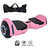 MINICoo 6.5 inch Hoverboard Self Balancing Scooter with Built-in Bluetooth Speaker,Colorful LED Wheels and LED Lights for Kids and Adults,UL 2272 Certified
