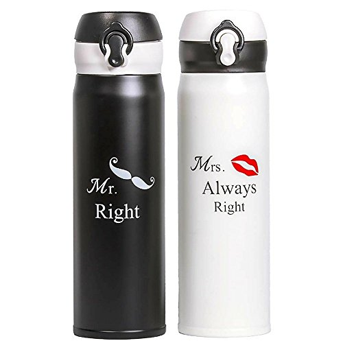 Wedding and Anniversary Gift by Unconditional Rosie - Set of Two Matching Stainless Steel Flasks. These Thermo Set Comes in a Gift Box! Funny, Unique, and Personalized Couples Gifts for Him and Her! (Gift For $25 Her Ideas)