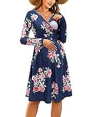 OUGES Womens V-Neck Long Sleeve Floral Maternity Dresses Nursing Gown Breastfeeding Dress