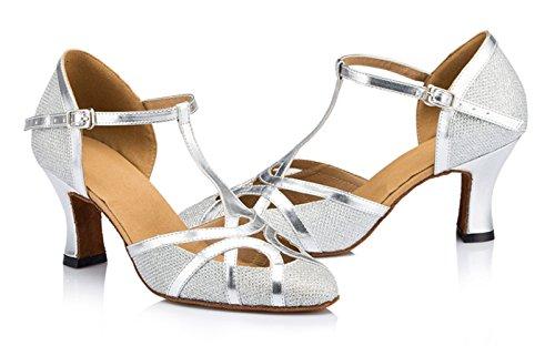 PU Shoes 7cm Heel Salsa Strap Silver High Glitter T Toe QJ6133 Latin Tango Closed Womens MINITOO Leather Ballroom Heel Glitter Dance zqYaWf