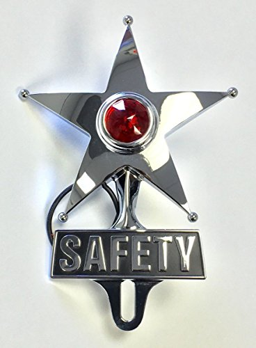 Hot Rod Red Jewel Lighted Chrome Safety Star Vintage Style License Plate (Lighted Topper)